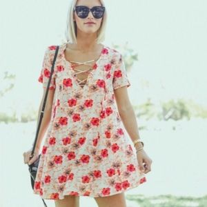 ASTR Lace Up Floral Swing Dress Short Sleeve M